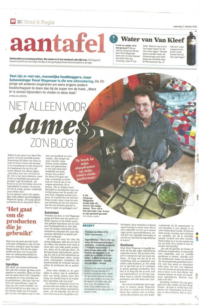 Den Haag Foodie René Wagenaar Algemeen Dagblad AD 17 oktober 2015